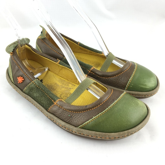 6ccb1ffb3a611 Ballet flats mary jane shoes green brown leather 6